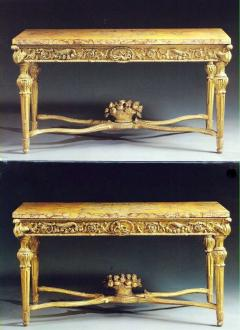 Extraordinary Pair of Italian 18th Century Carved Giltwood Console Tables - 632456