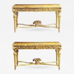 Extraordinary Pair of Italian 18th Century Carved Giltwood Console Tables - 633223