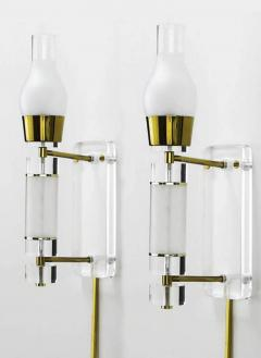Extraordinary Pair of Lucite Brass and Glass Wall Sconces - 274351