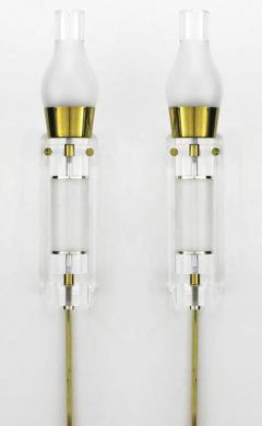 Extraordinary Pair of Lucite Brass and Glass Wall Sconces - 274352