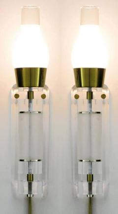 Extraordinary Pair of Lucite Brass and Glass Wall Sconces - 274353