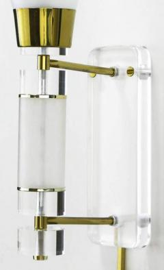 Extraordinary Pair of Lucite Brass and Glass Wall Sconces - 274354