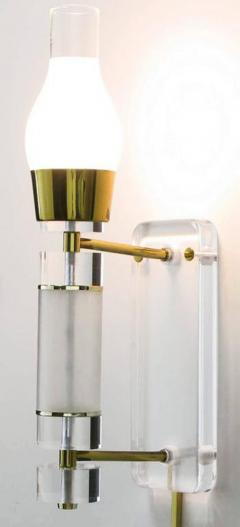 Extraordinary Pair of Lucite Brass and Glass Wall Sconces - 274355