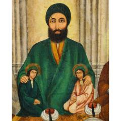 Extremely Fine and Rare Islamic Qajar Portrait Painting of Prophet Mohammad - 1217847