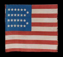 Extremely Rare Cotton Antique American Parade Flag with 26 Stars 11 Stripes - 636691