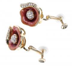 FABERG FLORAL ENAMEL AND DIAMOND EARRINGS 18 KARAT YELLOW GOLD - 1886940