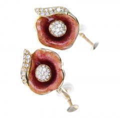 FABERG FLORAL ENAMEL AND DIAMOND EARRINGS 18 KARAT YELLOW GOLD - 1886941