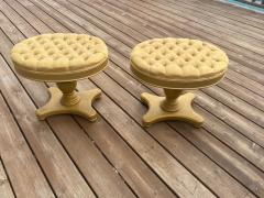 FANCY PAIR OF HOLLYWOOD REGENCY BUTTON TUFTED STOOLS - 1940162
