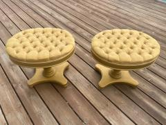 FANCY PAIR OF HOLLYWOOD REGENCY BUTTON TUFTED STOOLS - 1940163