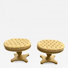 FANCY PAIR OF HOLLYWOOD REGENCY BUTTON TUFTED STOOLS - 1947420