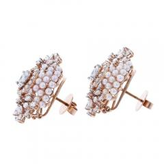 FINE OVAL SHAPED PEARL AND DIAMOND EARRINGS 18K YELLOW GOLD - 1923170