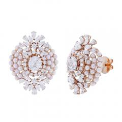 FINE OVAL SHAPED PEARL AND DIAMOND EARRINGS 18K YELLOW GOLD - 1923173