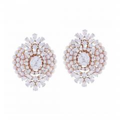 FINE OVAL SHAPED PEARL AND DIAMOND EARRINGS 18K YELLOW GOLD - 1923662