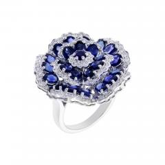 FLORAL BLUE SAPPHIRE AND DIAMOND RING - 1935037