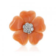 FLORAL CORAL RING WITH 0 27 CT DIAMONDS 18K WHITE GOLD - 2086618