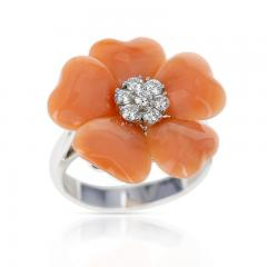 FLORAL CORAL RING WITH 0 27 CT DIAMONDS 18K WHITE GOLD - 2086619