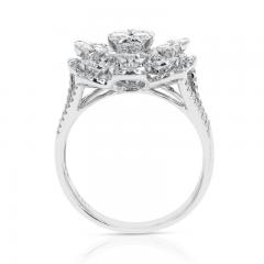FLORAL ROUND DIAMONDS COCKTAIL RING 18K WHITE GOLD - 2031125