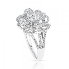 FLORAL ROUND DIAMONDS COCKTAIL RING 18K WHITE GOLD - 2031126