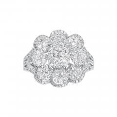 FLORAL ROUND DIAMONDS COCKTAIL RING 18K WHITE GOLD - 2031655