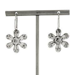 FLOWER 14K WHITE GOLD 4 08 CARAT DIAMOND DROP DANGLE EARRINGS - 2153014