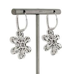 FLOWER 14K WHITE GOLD 4 08 CARAT DIAMOND DROP DANGLE EARRINGS - 2153015