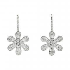 FLOWER 14K WHITE GOLD 4 08 CARAT DIAMOND DROP DANGLE EARRINGS - 2153834