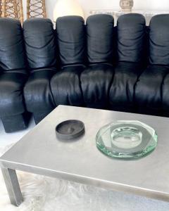 FONTANA ARTE ITALIAN MULTI FACETED ROUND PALE GREEN GLASS VIDE POCHE OR DISH - 1914134