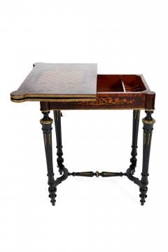 FRENCH 19TH CENTURY LOUIS PHILLIPHE INLAID GAME SIDE TABLE  - 1239843