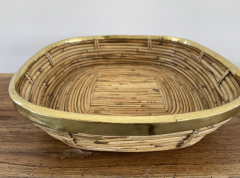 FRENCH RATTAN AND BRASS BOWL - 2001582