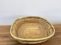 FRENCH RATTAN AND BRASS BOWL - 2001584