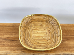 FRENCH RATTAN AND BRASS BOWL - 2001586