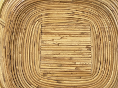 FRENCH RATTAN AND BRASS BOWL - 2001588