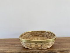 FRENCH RATTAN AND BRASS BOWL - 2001589