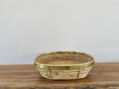 FRENCH RATTAN AND BRASS BOWL - 2001590