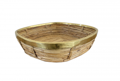 FRENCH RATTAN AND BRASS BOWL - 2001591