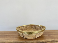 FRENCH RATTAN AND BRASS BOWL - 2001592