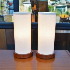 Fab Pair of Teak Cylinder Bedside Lamps w New Linen Shades - 2133685