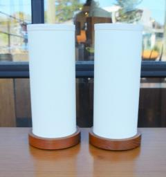 Fab Pair of Teak Cylinder Bedside Lamps w New Linen Shades - 2133740
