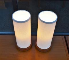 Fab Pair of Teak Cylinder Bedside Lamps w New Linen Shades - 2133742