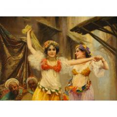 Fabio Fabbi A Fine Fabio Fabbi Orientalist Painting of Courtyard Dancers - 1471671