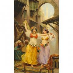 Fabio Fabbi A Fine Fabio Fabbi Orientalist Painting of Courtyard Dancers - 1471672