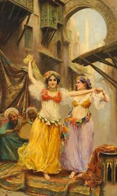 Fabio Fabbi A Fine Fabio Fabbi Orientalist Painting of Courtyard Dancers - 1472964