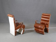 Fabio Lenci Italian Chair Midcentury Attributed to Fabio Lenci in Leather 1970s - 1499404