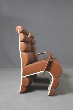 Fabio Lenci Italian Chair Midcentury Attributed to Fabio Lenci in Leather 1970s - 1499408