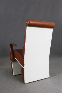 Fabio Lenci Italian Chair Midcentury Attributed to Fabio Lenci in Leather 1970s - 1499409