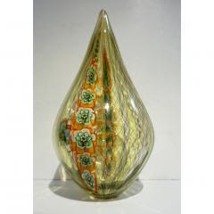 Fabio Tagliapietra F Tagliapietra Italian Green Yellow Orange Murano Glass Drop Sculpture Vase - 1946337