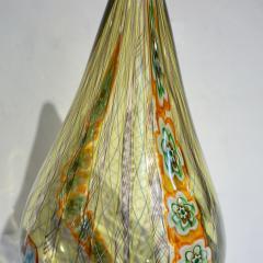Fabio Tagliapietra F Tagliapietra Italian Green Yellow Orange Murano Glass Drop Sculpture Vase - 1946340