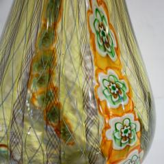 Fabio Tagliapietra F Tagliapietra Italian Green Yellow Orange Murano Glass Drop Sculpture Vase - 1946342