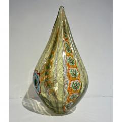 Fabio Tagliapietra F Tagliapietra Italian Green Yellow Orange Murano Glass Drop Sculpture Vase - 1946344