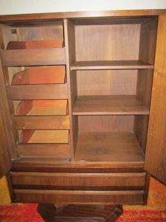 Fabulous Mid century Modern 3 dimensional Walnut tall Dresser Danish - 1877495